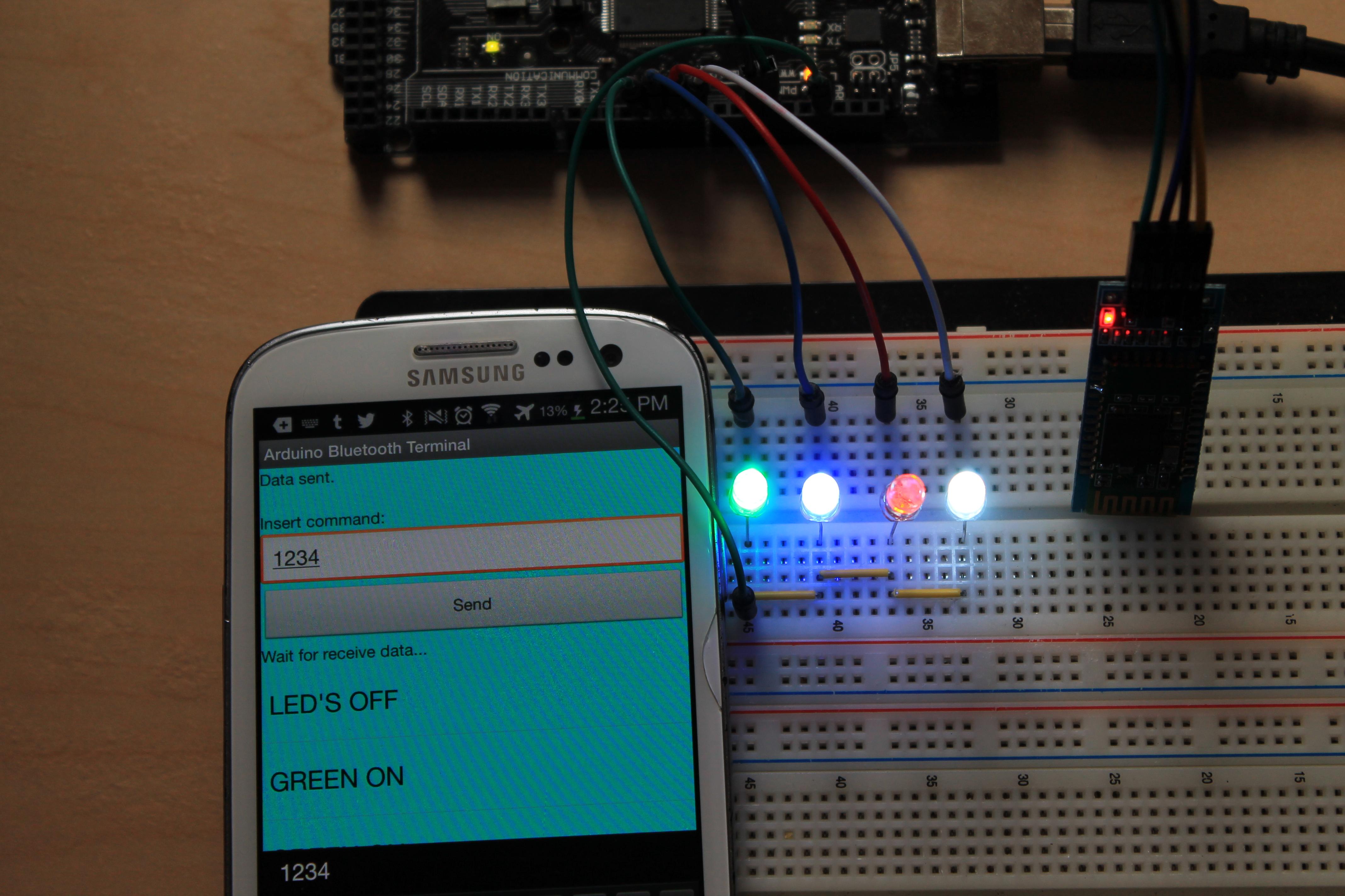 Using android to control arduino via bluetooth hc